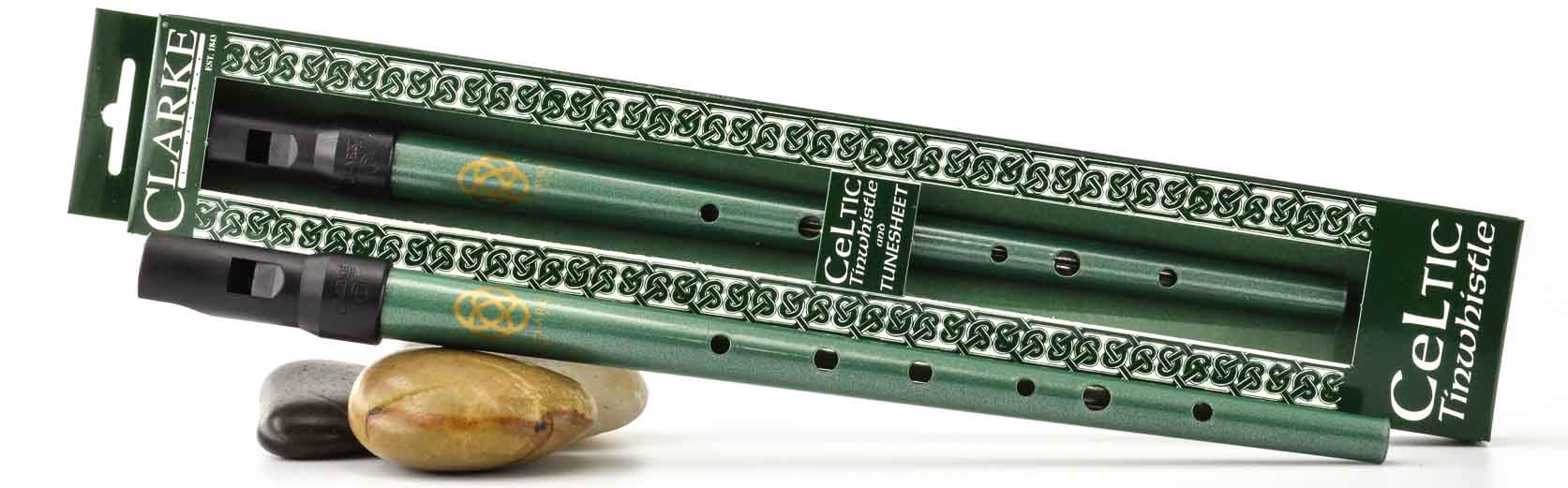 Celtic D Tinwhistle Green With Gold Clarke Tinwhistle